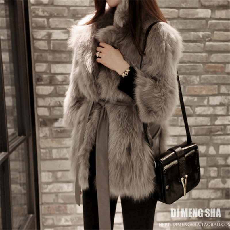 black Coat Female Korean New Slimming Warm Thick White Fashion Grass 2018 Slim gray Long Fox Haining Fur UZxzwqXqS