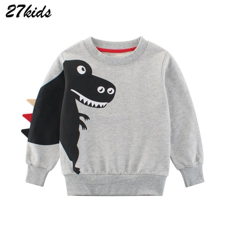 27kids kids Cartoon Print Baby Boys Dinosaur Hoodies Sweatshirts For Spring Infant Kids Boys T-Shirts Clothes Cotton Clothes 2