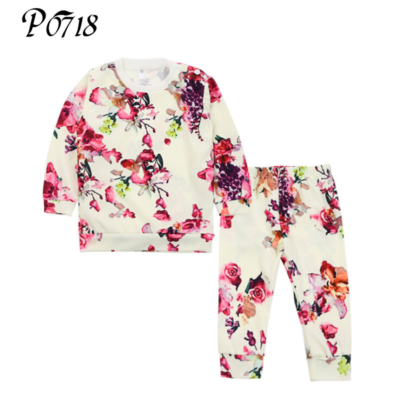Baby Girl Spring Set 2018 Long-sleeved Flower T-shirt + Pants Infant Girls 2 Piece Tops Trousers Suits Toddler Trendy Outfits