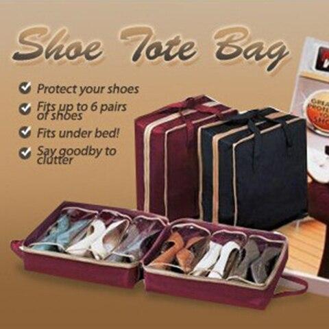 Non-Woven Fabric Shoe Bag Shoe Organizer Wardrobe Closet Organizer 6 Grids Shoe Storage Bags Shoe Rack Case For Travel Home Lahore