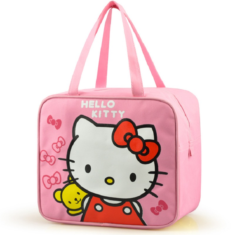 Pink Hello Kitty My Malody Girls Cotton Insulated Lunch Bag For Kids School Women Lunch Box Tote Bags Picnic Food Bag
