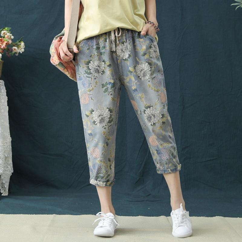 Summer Capris Vintage Elastic High Waist Jeans Woman Boyfriend Floral Print Jeans Women Denim Harem Pants