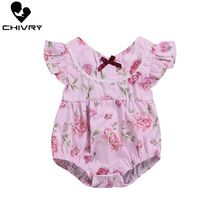 Chivry Baby Girls Bodysuit Summer Flying Sleeve V-neck Bodysuit Floral Print Cute Jumpsuit Newborn Baby Playsuit Infant Clothes недорого