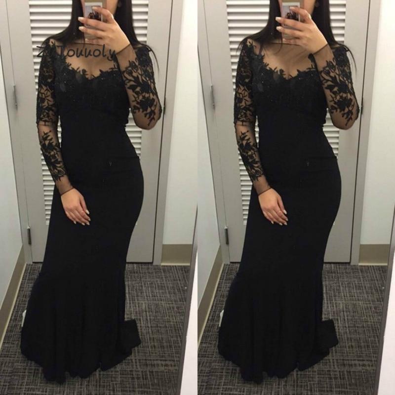 Robe de bal élégante sirène noire moulante grande taille manches longues robes de remise des diplômes pour les femmes 2019 Appliques robe de cérémonie de soirée