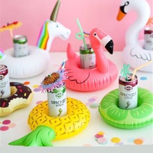 Cute Inflatable Flamingo Drink Can Cell Phone Holder Floating Swimming Stand Pool Bathing Beach Event Party