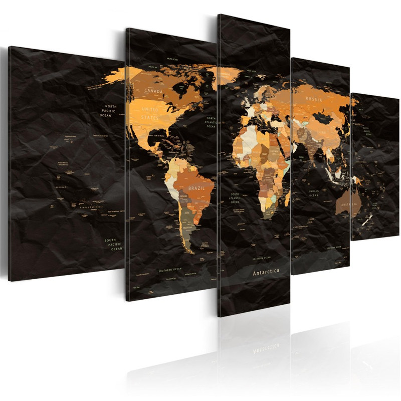 Hot Sale Black and Gold Canvas Painting World City Maps Wall Art ...