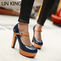 LIN KING Sexy Buckle Straps Lady Pumps Thick High-heeled Princess Shoes Patchwork Platform Night Pumps Women Wedding Shoes