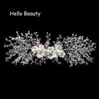 Luxueux Fleur Faite Main En Cristal Perles De Mariage Pièce de Tête De Cheveux De Mariée Pièces Perle Nuptiale Bandeau Demoiselle D'honneur Coiffes