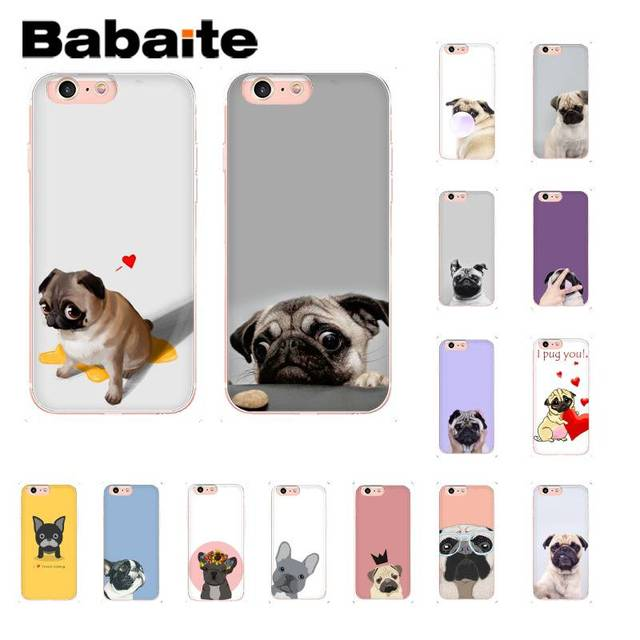 Babaite Animal Bonito Pug Cão Buldogue Dos Desenhos Animados Foto Personalizado Caso de Telefone Macio para iPhone 8 7 6 6 6 S além de 5 5S SE XR X XS MAX 10 Coque