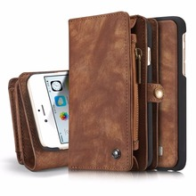 CaseMe Original 2 in 1 Genuine flip Leather Case for iPhone 6 6s plus Luxury Zipper Wallet Cover Phone Case Card Slots stand