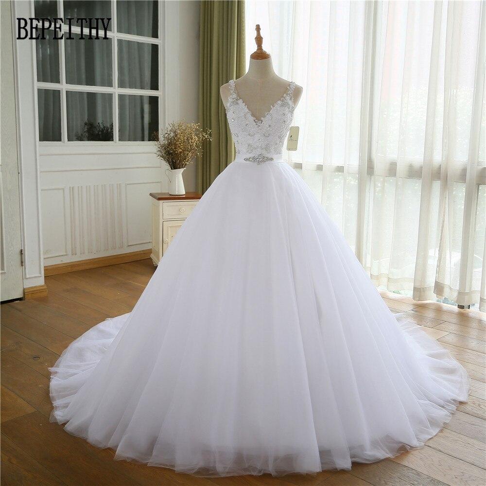 BEPEITHY Vestido De Novia 2019 New Arrival V-Neck A Line Appliques Lace Beads Belt Bridal Dresses Tulle Wedding Dress