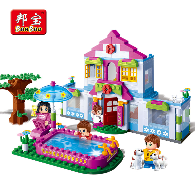 BanBao Dream House Villa Swimming Pool Bricks Educational Model Building Blocks Toy Children Girl Kid 6109 Compatible With legoe