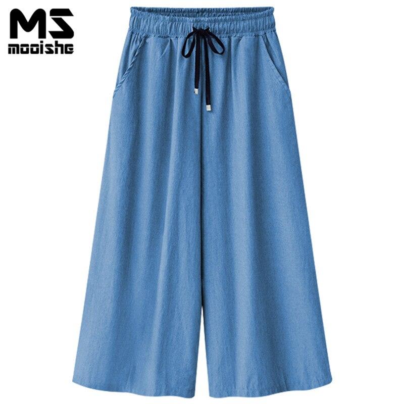 Mooishe Summer Wide Leg Jeans Capris For Women Elastic Hig Waist Cropped Drawstring Culottes Denim Pants