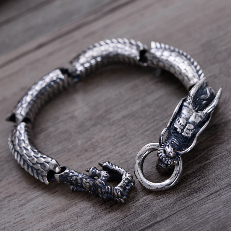 925 Sterling Silver Handmade Vintage Thai Retro Men Jewelry Wide Heavy Domineering Dragon Bracelets CH058882 925 sterling silver thai vintage pendant thai retro men male jewelry chian dragon bracelet ch059082