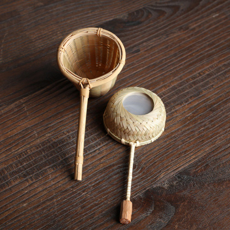 Portable Tea Strainers Bamboo Rattan Gourd Shaped Tea Leaves Funnel For Tea Table Decor Tea Ceremony Accessories