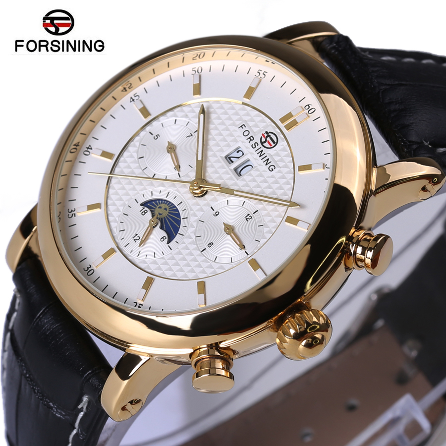Forsining 2018 Golden Design Moon Phase Calendar Display Mens Watches Top Brand Luxury Automatic Fashion Mechanical Watch forsining 3d skeleton twisting design golden movement inside transparent case mens watches top brand luxury automatic watches
