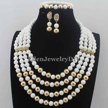 Fabulous White Stone Beaded African Fashion women necklace Set earrings Plated Nigerian Wedding Jewelry Set Free Ship W13757(China)