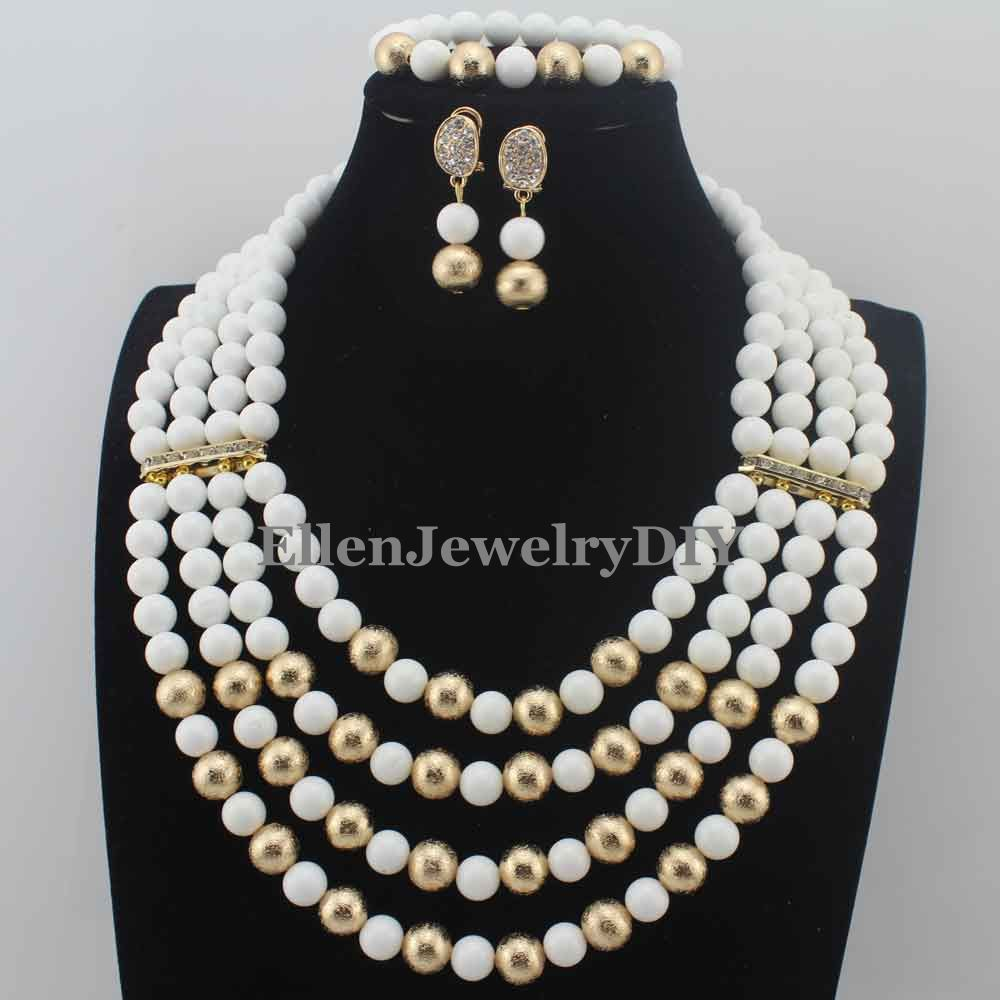 Fabulous White Stone Beaded African Fashion women necklace Set earrings Plated Nigerian Wedding Jewelry Set Free Ship W13757Fabulous White Stone Beaded African Fashion women necklace Set earrings Plated Nigerian Wedding Jewelry Set Free Ship W13757