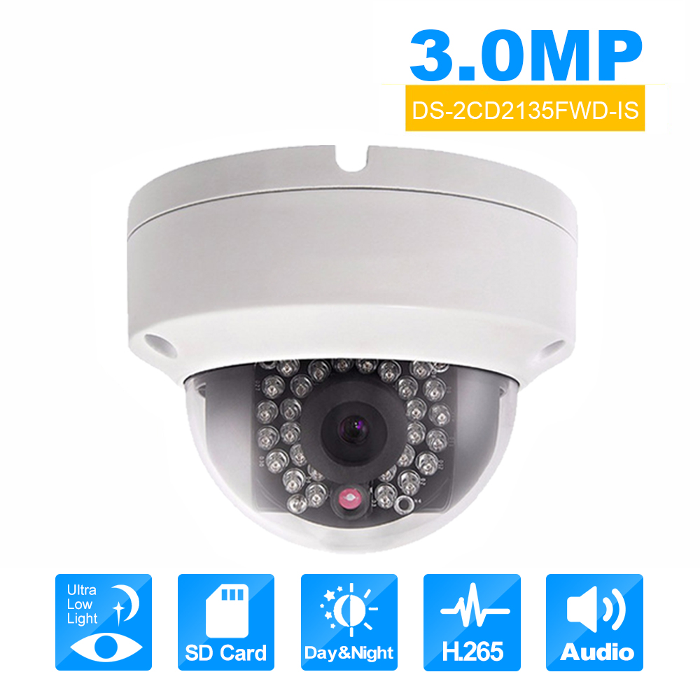 Original HIKVISION DS-2CD2135FWD-IS 3MP poe IP Camera Onvif Dome cctv Cam module Outdoor Security Camera H.265 Starlight webcam hikvision 3mp low light h 265 smart security ip camera ds 2cd4b36fwd izs bullet cctv camera poe motorized audio alarm i o ip67