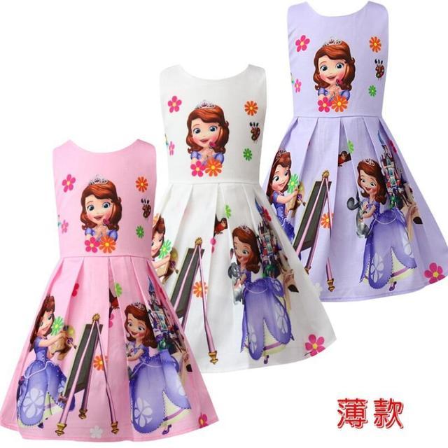 2019 חדש קיץ עיצוב נסיכת סופיה שמלת 3 צבע תלבושות Vestido פרינססה סופיה ילדים בגדי בנות חתונות שמלת ילדים