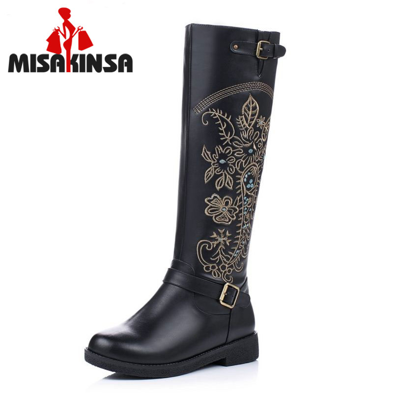 MISAKINSA Vintage Genuine Real Leather Knee Boots Winter Boot Sexy Square Heel Round Toe ...