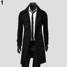 Men Winter Stylish Slim Double Breasted Trench Coat Long Jacket Outwear Overcoat