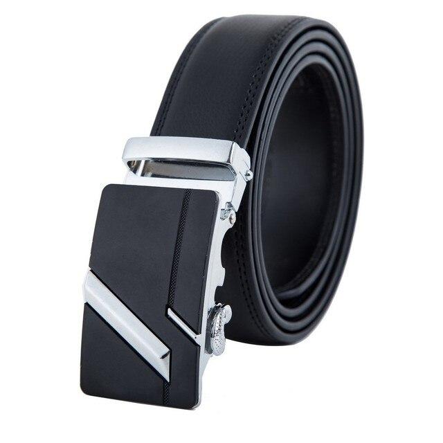 Vente chaude Mode hommes automatique boucle véritable ceintures en cuir  noir haute qualité ceintures costume pour 5c59f2c26ab
