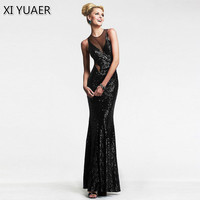 XI YUAER 2018 Womens Sexy O Neck Hollow Sequins Dress Evening Gown Wedding Party Mother of Bride Maxi Long Dress XY059