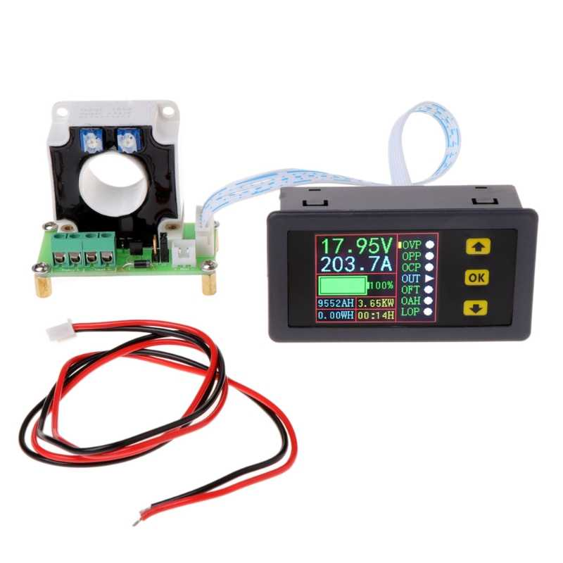 Digital Multimeter DC 0-90V 0-100A Voltmeter Ammeter Power Monitor w Hall Sensor Multifunctional Bidirectional Meter