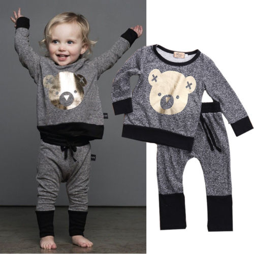 Unisex Winter Toddler Baby Boy Clothes Long Sleeve Cartoon Cute BEAR Printed T-Shirt + Pant Outfit Set Age 0-4