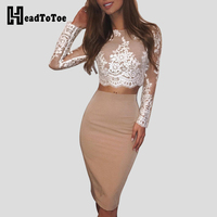 Women Summer Crochet Floral Lace Eyelash Top Sheath Skirt Sets Office Lady Elegant Midi Bodycon Dress Two Piece Set Outfits 2019