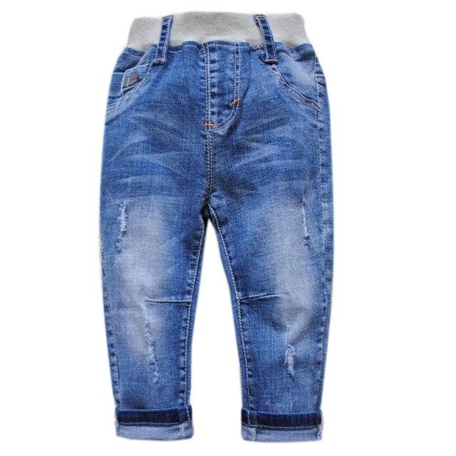 5984 детские джинсы мальчиков брюки небольшое отверстие синие брюки детские мальчик моды простой мягкий деним очень хороший новый 2017 весна осень