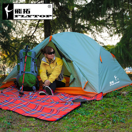 FLYTOP tent outdoor double layer aluminum rod  2 persons ultra-light high quality outdoor 2 person camping tent double layer aluminum rod ultralight tent with snow skirt oneroad windsnow 2 plus