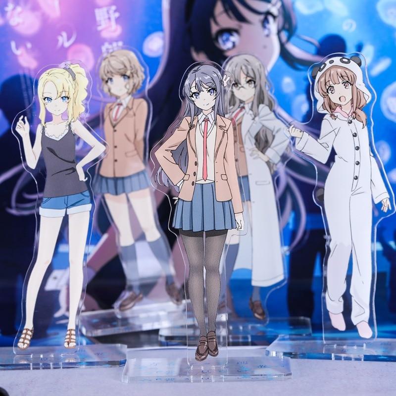 Anime Seishun Buta Yarou Wa Bunny Girl Senpai No Yume Wo Minai Mai Sakurajima Figurines Acrylic Ornaments Badge Desktop Decor