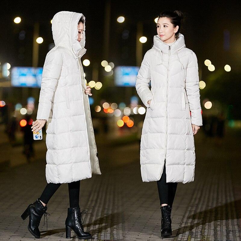 2018 Mode A rouge Parka Capot Nouvelle Outwear blanc Vestes Manteau Mince Noir Veste Hiver Longue Taille Chaud ligne Femelle De Coton Arrivée Base Femmes La Plus rose 7xZq8Af