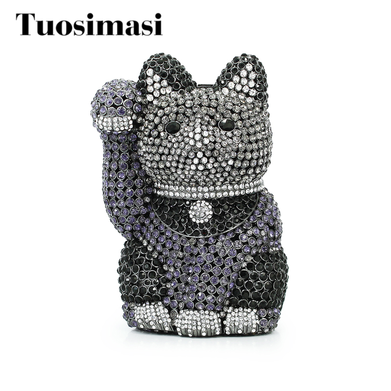 Unique Design Dazzling Crystal Fortune Cat Shape Women Black Evening Bag Wedding Party Metal Clutches Purses Bridal Clutch Bag