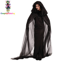 Halloween Adult Women Scary Ghosts Costumes Child Girl Witch Costume Devil Clothes Kid Suits with Long Cloak