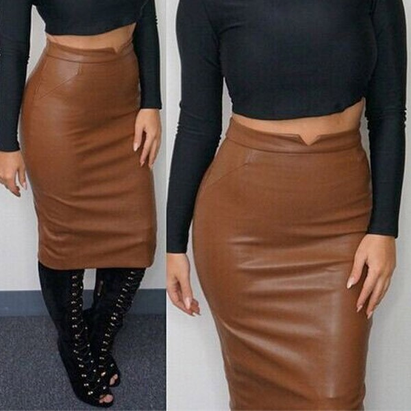 110b12578f05 2017 autumn women s fashion empire leather knee length skirts Pencil  Bodycon saia Faldas winter pu long pencil skirt-in Skirts from Women s  Clothing on ...