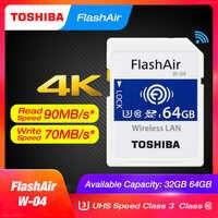 Tarjeta de memoria SD TOSHIBA FlashAir W-04 Wifi 32GB SDHC 64GB SDXC Clase 10 U3 tarjeta de memoria para cámara Digital