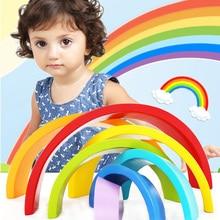 DROPSHIPPIN 7Pcs wooden rainbow blocks wooden building blocks For Kid Rainbow Building Blocks Montessori educational wooden toy