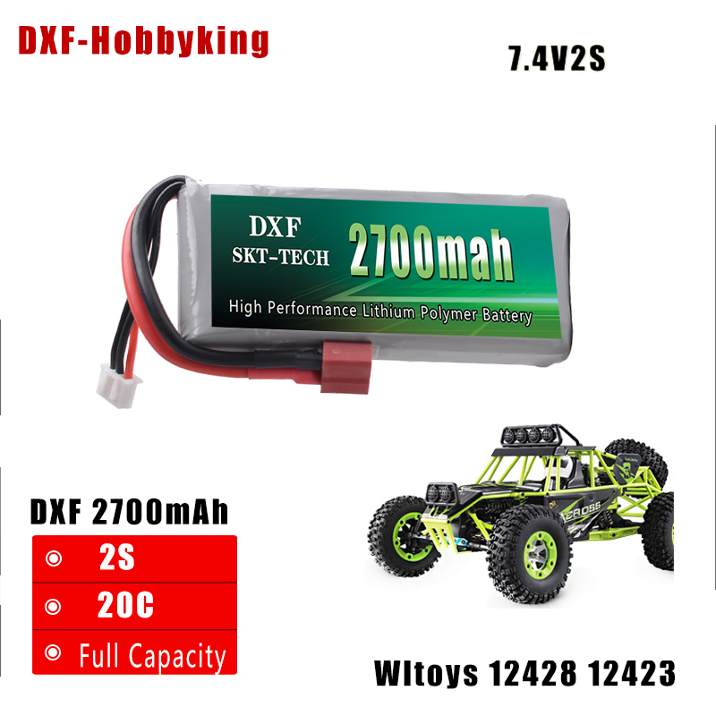 DXF New Arrived Rc Lipo Battery 2S 7.4V 2700mah 20C Max 30C for Wltoys 12428 12423 1:12 RC Car Spare parts wltoys 12428 12423 1 12 rc car spare parts rear differntial gear group 0133