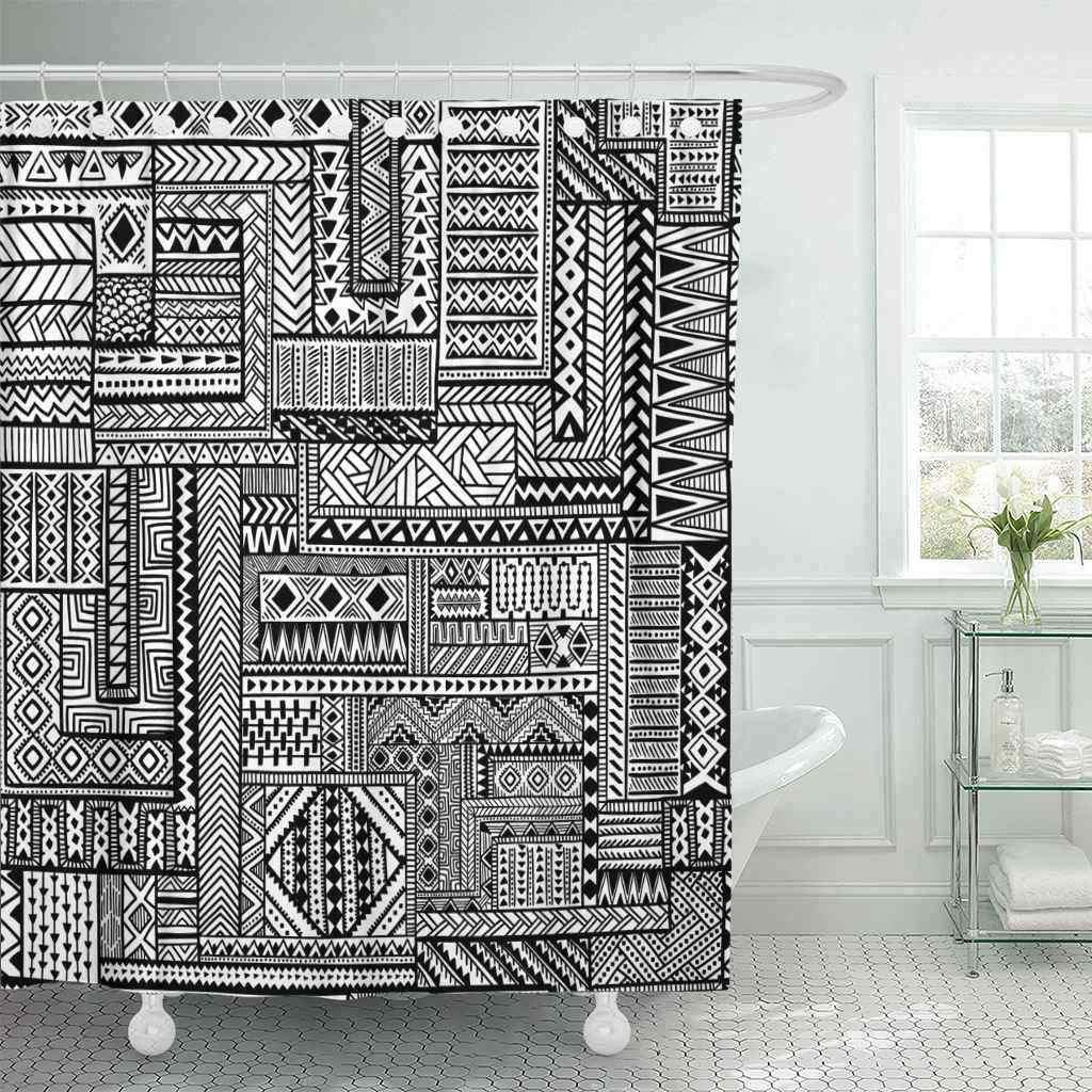 Занавеска для душа Африканская Этническая Узорчатая черно-белая Татуировка Геометрическая племенная старинная ванная комната