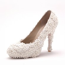 Luxury New Style Sandals For Women White Flower Ballroom Dance Shoes High Heels Formal Shoes Elegant Wedding Bridal Shoes