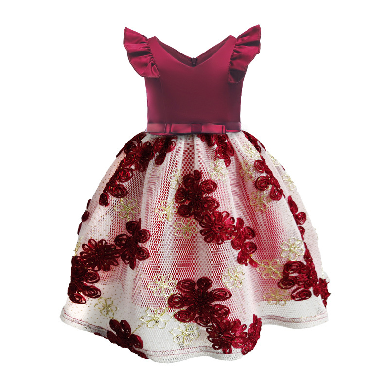 Girls Burgundy Navy Embroidered Lace Dress