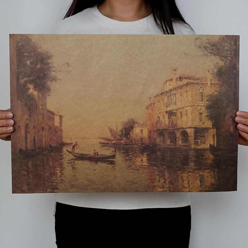 Mling 1 قطعة منتجعات Vintage مدينة المياه البندقية المناظر البحرية النفط الطلاء على قماش المشارك الحديثة صور فنية للجدران لغرفة المعيشة