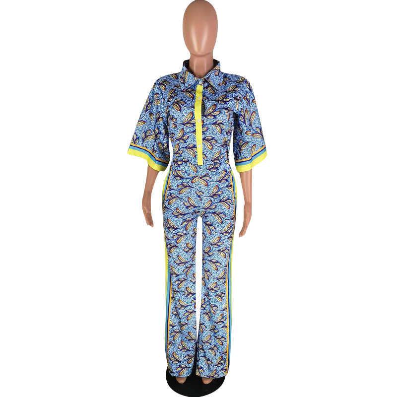 Pantalones casuales de pierna ancha traje de dos piezas de mujer nueva impresión de rayas laterales de dos piezas personalidad de moda juego de solapa de calle alta