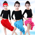2016 New Style Children Latin Dance Costume Spring Autumn Girls Black Long Sleeve Shirt and Ruffle Skirt Salsa Dance Suit