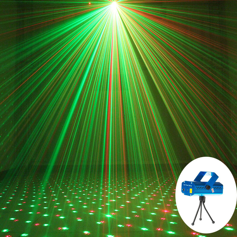Mini LED Laser Stage Lighting Multiple Modes Auto Change Portable Laser Projector Lamp Christmas Disco Party KTV DJ Moving Head smuxi portable stage light auto voice led laser projector stage lighting effect dj ktv party christmas decor remote control