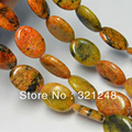 Natural jade 13x18mm orange azurite chrysocolla gems oval loose Bead 15'' GE1104