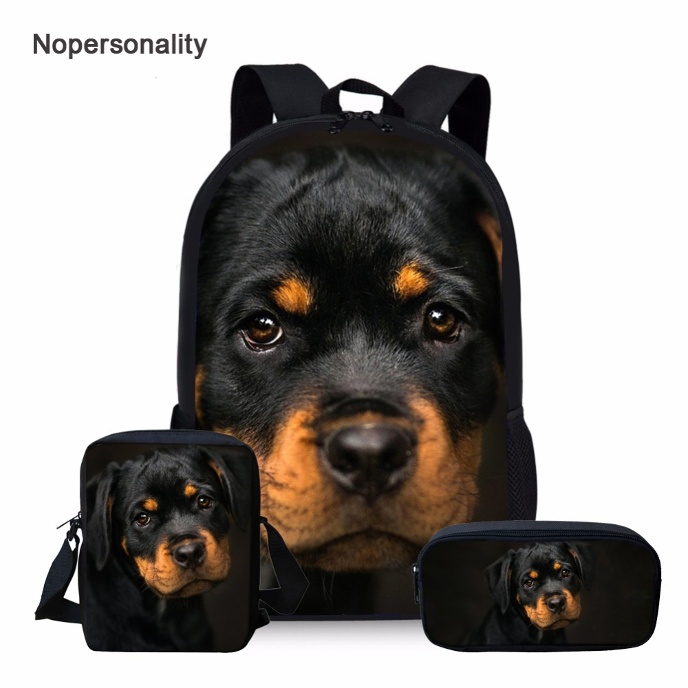 Nopersonality Cute Rottweiler Dog Print School Backpack Set For Teenager Boys Girls Cool Children Kids Bagpack Student Book Bags